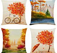 abordables -lot de 4 plein de lin automne carré décoratif taies d'oreiller canapé housses de coussin 18x18