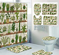 abordables -impression de motif de plante verte de figue de barbarie rideau de douche de salle de bain toilettes de loisirs conception en quatre pièces