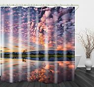 abordables -nuage de feu vert colline lac impression numérique rideaux de douche crochets polyester moderne nouveau design