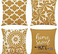 abordables -housse de coussin 4pc lin doux décoratif carré housse de coussin taie de coussin taie d'oreiller pour canapé chambre 45 x 45 cm (18 x 18 pouces) qualité supérieure