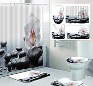 economico -disegno a quattro pezzi della toletta della doccia della tenda della doccia del bagno della stampa del modello del ciottolo