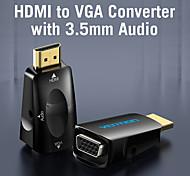 economico -venton adattatore da hdmi a vga compatibile con hdmi maschio a vga felame hd 1080p convertitore cavo audio con jack 3.5 per proiettore box pc laptop ps4