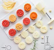 abordables -50 grammes stéréo rose fleur voiture logo dessin animé gâteau moule bricolage cuisson pâtisserie outils cuisine ustensiles de cuisson presse à la main en plastique rond lune gâteau moule