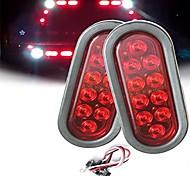 economico -Luci di rimorchio ovali 2pcs 4w 10led luci di coda di retromarcia con indicatori di direzione del freno rosso super brillante con guarnizioni in gomma impermeabile per camion rimorchio per barche