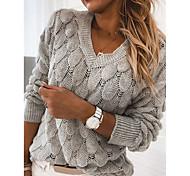 economico -Per donna Essenziale Lavorato a maglia Tinta unica Pullover Manica lunga Maglioni cardigan A V Autunno Inverno Nero Blu Rosso