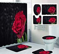 economico -disegno a quattro pezzi della toletta della doccia della tenda della doccia del bagno di stampa del modello della rosa rossa