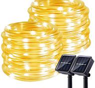 abordables -lumières de corde de corde solaire d'extérieur pack de 2 tubes de lumière extérieure étanche à énergie solaire avec 100 led 35,7 pieds 8 modes guirlandes lumineuses en fil de cuivre pour clôture de