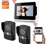 abordables -enregistrement sans fil wifi / filaire moniteur 7 pouces interphones vidéo système de sécurité domestique sonnette vidéo interphone avec caméra HD 1080p prise en charge multilingue télécommande tuay
