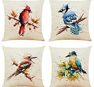 economico -set di 4 fodere per cuscini decorativi quadrati in lino con uccelli acquerello creativo copridivano 18x18