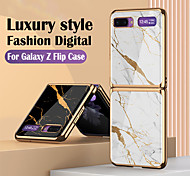 economico -telefono Custodia Per Samsung Galaxy Per retro Custodia flip Galaxy Z Flip Resistente agli urti Placcato Con chiusura magnetica Paesaggi Geometrica Effetto marmo TPU Vetro temperato