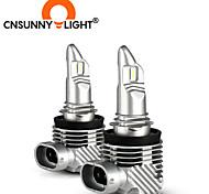 abordables -2pcs cnsunnylight plus récent 11 taille H11 H7 mini LED ampoules de phare de voiture sans fil 9005 9006 30W blanc feux de brouillard automatique