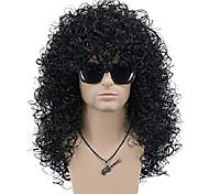 economico -parrucca da uomo lunga riccia nera dura anni '70 anni '80 parrucca costume di halloween parrucca cosplay (nera)
