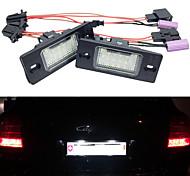 abordables -2 pcs 5 W 12 V 6500 K 18 LED Plaque D'immatriculation Lumières Lampe Ensemble Assemblages Pour Porsche Cayenne 955957 Volkswagen Touareg Tiguan Golf