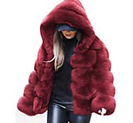 economico -Per donna Tinta unita Autunno inverno Standard Cappotto di pelliccia sintetica Quotidiano Pelliccia sintetica Manica lunga Cappotto Top