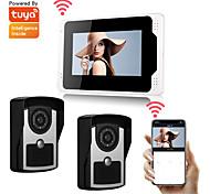 abordables -Wifi / filaire Tuya smartlife 1080p hd camrea 7 pouces moniteur vidéo porte cloche interphone visuel porte étanche à la pluie caméra pir détecteur de mouvement