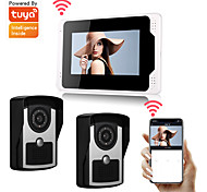 economico -wifi / wired tuya smartlife 1080p hd camrea 7inch monitor video door bell visual intercom rainproof door camera pir motion detector