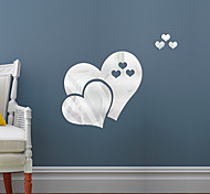 abordables -Double amour coeur forme miroir autocollants auto-adhésifs cristal papier peint bricolage 3d maison sticker mural decorationq501 30 * 25 cm