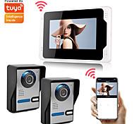 economico -tuya smart 7 wifi / videocitofono con monitor cablato con dispositivo di visione notturna telecamera di rilevamento del movimento 2 telecamere& 1 monitor 110 / 720p / ahd registrazione di