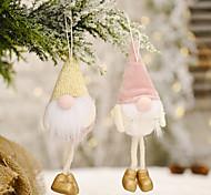 economico -Forniture per decorazioni per feste natalizie Bambola senza volto in flanella pendente per gamba appesa pendente per bambola anziana foresta creativa