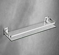 abordables -espace aluminium étagère de salle de bain alliage solide avec support de salle de bain rectangulaire en verre trempé épaissi mural
