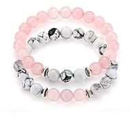 """abordables -bracelets pour couples longue distance 8mm howlite& perles en pierre naturelle 2 pièces, 7,5 """"rose"""