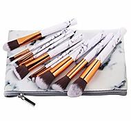 abordables -10pcs / set kit de pinceaux de maquillage marbré motif de marbre PU brosse sac poudre contour ombre à paupières beauté maquillage pinceau outils cosmétiques, pinceau et sac