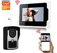 economico -2.0mp tuya app cablato / wifi campanello 1080p hd fotocamera monitor da 7 pollici smart home video citofono campanello pir rilevamento del movimento sicurezza cctv