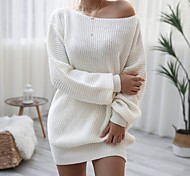 economico -Per donna Abito in maglia Mini abito corto Bianco Rosa Grigio chiaro Manica lunga Tinta unica Collage Autunno Primavera Senza spalline Casuale Manica a lanterna 2021 S M L XL