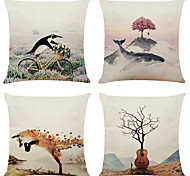 economico -set di 4 fodere per cuscini decorativi per cuscini quadrati in lino con pittura decorativa creativa 18x18
