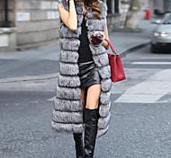 abordables -Femme Couleur Pleine énorme Chic de Rue Automne hiver gilet Longue Sortie Sans Manches Fausse Fourrure Manteau Hauts Blanche