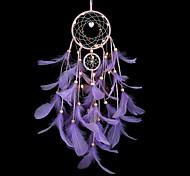 abordables -dreamcatcher violet plume carillons à vent led veilleuse à la main dreamcatcher cadeau de noël ornements salon chambre noël nouvel an décoration