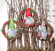 economico -bambola senza volto piccola bambola rattan anello pendente bambola ornamenti ghirlanda decorazione della finestra di natale