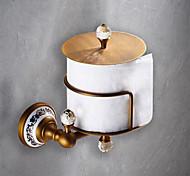 abordables -porte-papier toilette amovible ancien porte-papier en céramique / cristal en laiton mat 1pc