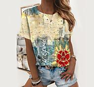 abordables -T-shirt Femme Quotidien Papillon Teinture par Nouage Imprimés Photos Manches Courtes Imprimé Col Rond Hauts Standard Haut de base basique Blanche Violet
