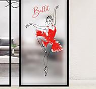 abordables -givré vie privée ballet fille motif fenêtre film maison chambre salle de bains verre fenêtre film autocollants auto-adhésif autocollant