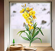 abordables -givré vie privée motif floral fenêtre film maison chambre salle de bains verre fenêtre film autocollants auto-adhésif autocollant 60 * 58 cm