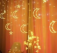 abordables -LED étoile lune guirlande lumineuse extérieure étanche 12led rideau lumière 3.5m 11.5ft 6 étoiles et 6 lunes avec 8 fonctions pour le festival du ramadan chambre décor intérieur eid al-fitr