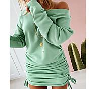 economico -Per donna Tubino Mini abito corto Bianco Nero Verde Manica lunga Tinta unica Collage Autunno Rotonda Elegante 2021 S M L XL