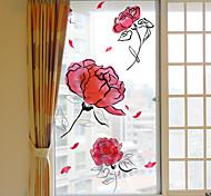 abordables -givré vie privée belles fleurs motif fenêtre film maison chambre salle de bains verre fenêtre film autocollants auto-adhésif autocollant 60 * 116 cm