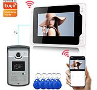 abordables -Enregistrement WiFi / filaire Interphone vidéo montor mains libres 7 pouces avec application Tuya 1080p HD caméra détection de mouvement prise en charge rfid déverrouiller