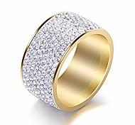 economico -Anello in cristallo trasparente a 8 file di larghezza 12 mm uomini donne anelli in acciaio inossidabile ghiacciato (oro, 7)