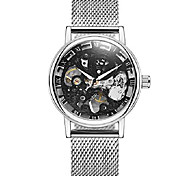 economico -orologio meccanico a carica manuale con intaglio vuoto reale con cinturino in acciaio a rete dal design sottile