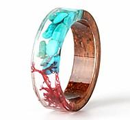 economico -anello in legno fatto a mano unico con turchese e alghe rosse all'interno anello a fascia in resina trasparente miglior regalo per la sua taglia 7.5