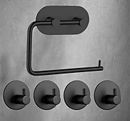 abordables -Ensemble d'accessoires de salle de bain / Porte Papier Toilette / Crochet à Peignoir Nouveau design / Auto-Adhésives / Multifonction contemporain / Antique Acier inoxydable 5 pièces - Salle de Bain