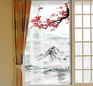 abordables -Givré vie privée dashan fleur de prunier motif fenêtre film maison chambre salle de bains verre fenêtre film autocollants auto-adhésif autocollant 116 * 60 cm
