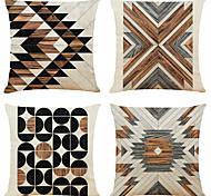abordables -housse de coussin 4pc lin doux décoratif carré housse de coussin taie de coussin taie d'oreiller pour canapé chambre 45 x 45 cm (18 x 18 pouces) qualité supérieure lavable en mashine