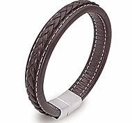 economico -bracciale in pelle da uomo cinturino in vera pelle intrecciato in acciaio inossidabile con fibbia magnetica per uomo, nero e marrone (marrone, 8.3) ...