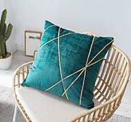abordables -housse de coussin luxueux couleur unie ligne or doux décoratif carré housse de coussin taie de coussin taie d'oreiller pour canapé chambre 45 x 45 cm (18 x 18 pouces) qualité supérieure lavable en