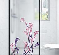 abordables -Givré confidentialité calla lily motif fenêtre film maison chambre salle de bains verre fenêtre film autocollants auto-adhésif autocollant 116 * 60 cm