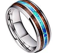 abordables -Bague en carbure de tungstène pour homme 8 mm véritable opale bleue rare bague de mariage incrustée de bois de koa haute polie (10)
